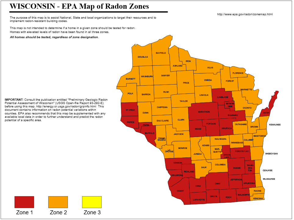 Wisconsin EPA Radon Map | House Detective Home Inspections Radon Testing Services